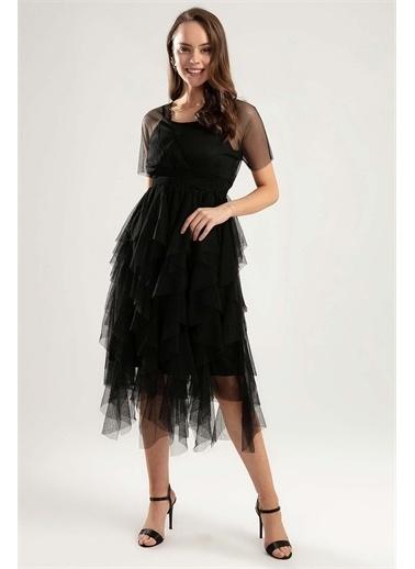 Pattaya Pattaya Kadın Beli Lastikli Astarlı Tül Elbise Y20S134-1947 Siyah